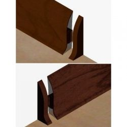 Set 4 buc piese de inchidere plinta (2 buc. dreapta + 2 buc. stanga) pentru plinta PVC culoare cires maroniu