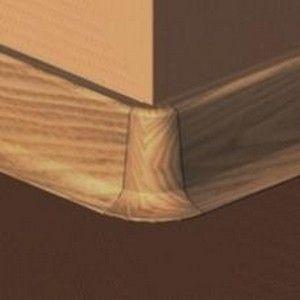 Set 4 buc piese de colt exterior pentru plinta PVC culoare stejar inchis