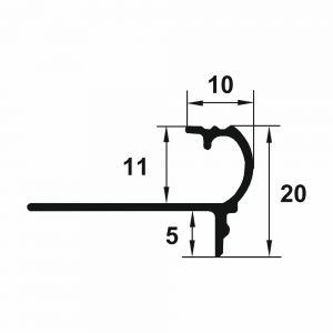 Protectie treapta Prolux flexibila din aluminiu eloxat 2700x10x11 mm
