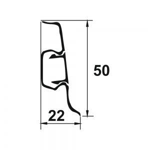 Plinta PROLUX din PVC culoare cires inchis pentru parchet 50 mm