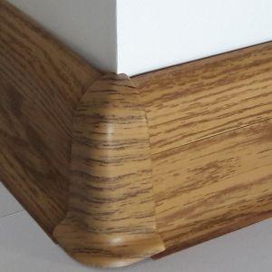 Set 4 buc. piese Lineco imbinare colt exterior pentru plinta PVC culoare stejar miere
