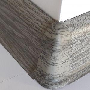 Set 4 buc. piese Lineco imbinare colt exterior pentru plinta PVC culoare stejar cenusa