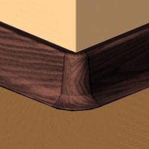 Set 4 buc piese de colt exterior pentru plinta PVC culoare mahon inchis